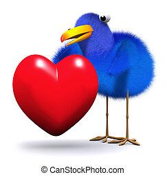 Coração,  3D,  Bluebird, Abraços