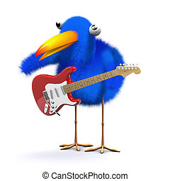 3d Bluebird plays electric guitar - 3d render of a bluebird...