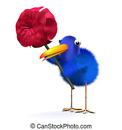3d Bluebird with a red rose - 3d render of a bluebird...