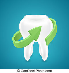 Green ?rrow protected human teeth on blue background