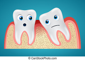 Two tooth and gum hurt - Two tooth one of which is inclined...
