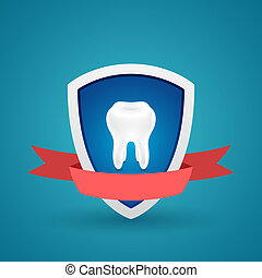Tooth on the shield protected icon - Icon protected human...