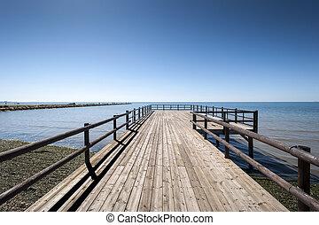 Wooden walkway. Photo taken in Santa Pola town. It is a...