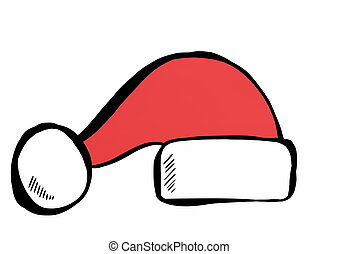 doodle Santa Claus red hat isolated
