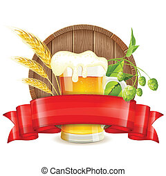 Oktoberfest Poster with Barrel, Glass of Beer, Barley, Hops...