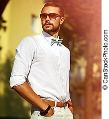 Young smiling stylish sexy handsom - Young stylish sexy...