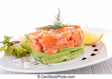 salmon and avocado, appetizer