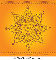 indian flower - traditional indian style flower ornament on...
