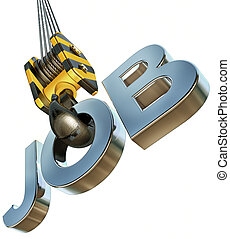 job icon - 3d rendering of a job icon on a crane