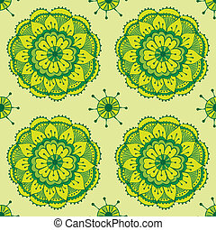 Lotus - seamless vector pattern in traditional indian style