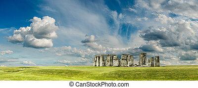 Stonehenge - Panorama of Stonehenge an ancient prehistoric...