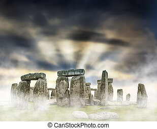 Stonehenge - Fantasy sunrise at Stonehenge with dramatic sky...
