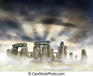 Stonehenge - Fantasy sunrise at Stonehenge with dramatic sky...