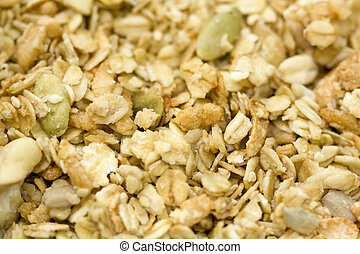Organic Granola - Close-up of organic granola cereal with...