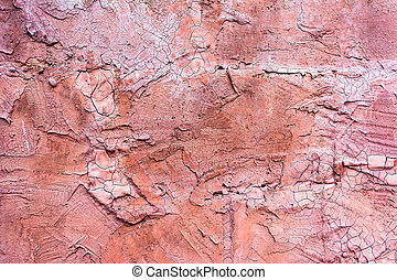 antique Cracked pink concrete wall background image