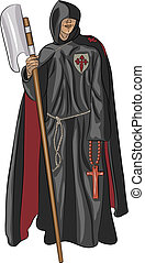 vector monk inquisitor - inquisitor monk in a cassock with a...