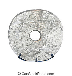 Prehistoric wheel - Prehistoric stone wheel isolated...
