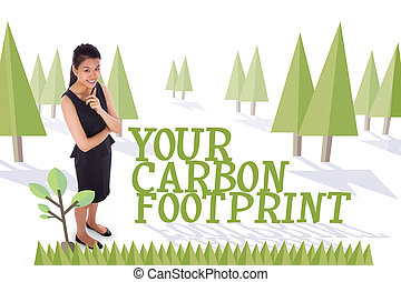 Your carbon footprint against forest with trees - The word...