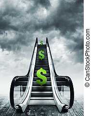 Dollar symbol on escalators. Currency concept, inflation and...
