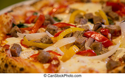 Sausage and Pepper Pizza - Fresh sausage, onion and red and...