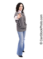 Young casual woman signaling Ok - isolated over white