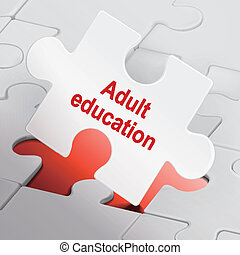 adult education on white puzzle pieces background