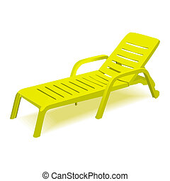 Beach chair with sun symbol on map pointer, vector...