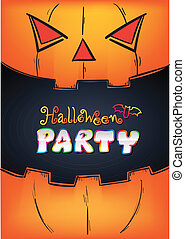 Halloween Party Design template in mouth pumpkin poster...
