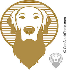Dog Face Icon - Vintage styled illustration of a golden...