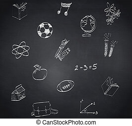 Composite image of school doodles against blackboard
