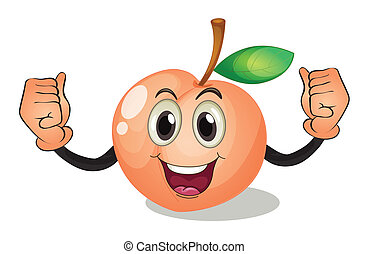 Peach - Illustration of a peach with face