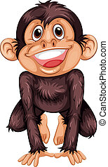 Chimpanzee - Illustration of a single chimpanzee