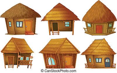 Cottage set - Illustration of different wooden cottages