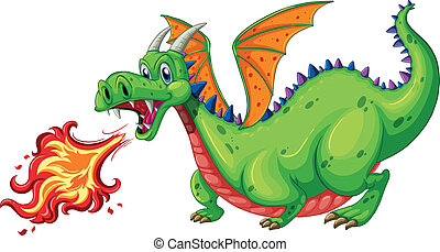 Dragon - Illustration of a dragon blowing fire