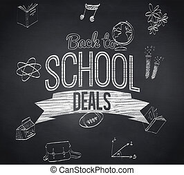 Composite image of back to school deals message against...