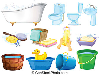 Bath set - Illustration of bathroom equipments