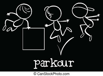 Parkour - Illustration of stickmen doing parkour