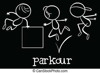 Parkour - Illustration of stickmen doing parkour