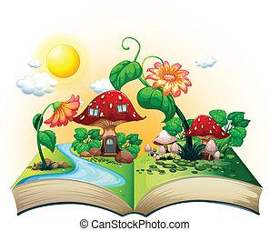 casa, livro, cogumelo