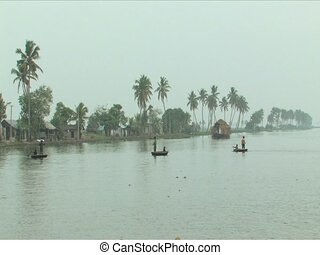 Round boats used to fish on Backwaters of Alleppey India