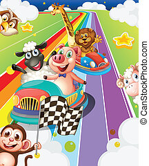 Animals racing - Illustration of many animals in racing cars