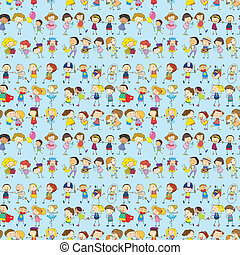 Seamless children - Illustration of a seamless children in...