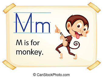 Letter M - Illustration of a flashcard with letter M