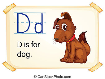 Letter D - Illustration of a flashcard with letter D