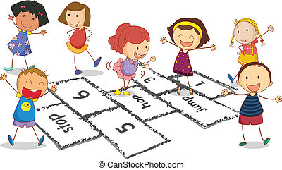 Children and hopscotch - Illustration of many children...
