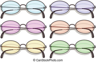 Eyeglasses - Illustration of many eyeglasses with different...