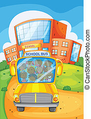 School bus - Illustration of a school bus in front of a...