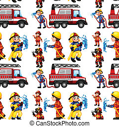 Seamless firefighters - Illustration of a seamless fire...