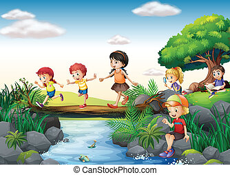 Children and stream - Illustration of children crossing a...