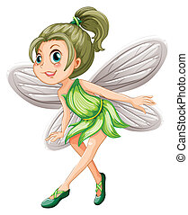 Green fairy - Illustration of a green fairy